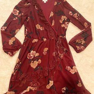 3/$12 Target Xhilaration Floral Fall Faux Wrap Mini Dress S